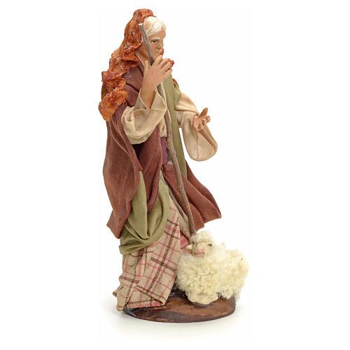 Neapolitan Nativity figurine, old lady with sheep, 18 cm 2