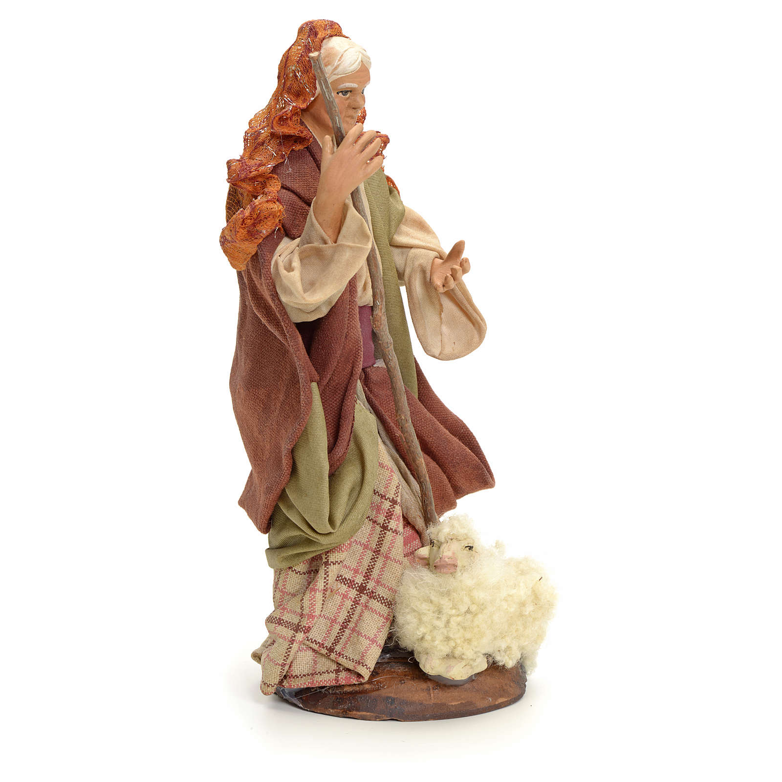 Neapolitan Nativity figurine, old lady with sheep, 18 cm 4