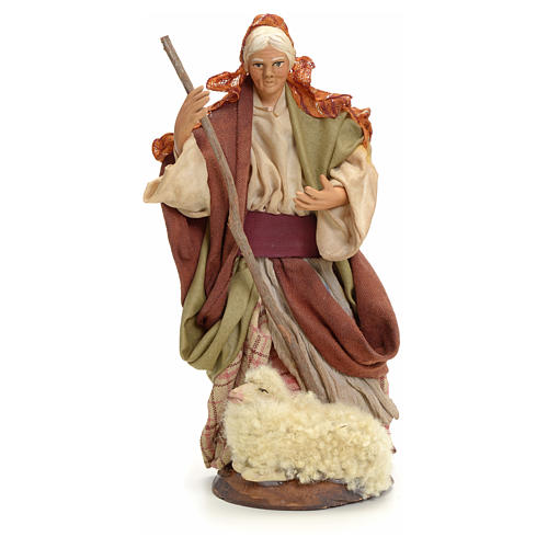 Neapolitan Nativity figurine, old lady with sheep, 18 cm 1