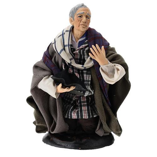 Neapolitan Nativity figurine, kneeling beggar, 18 cm 1