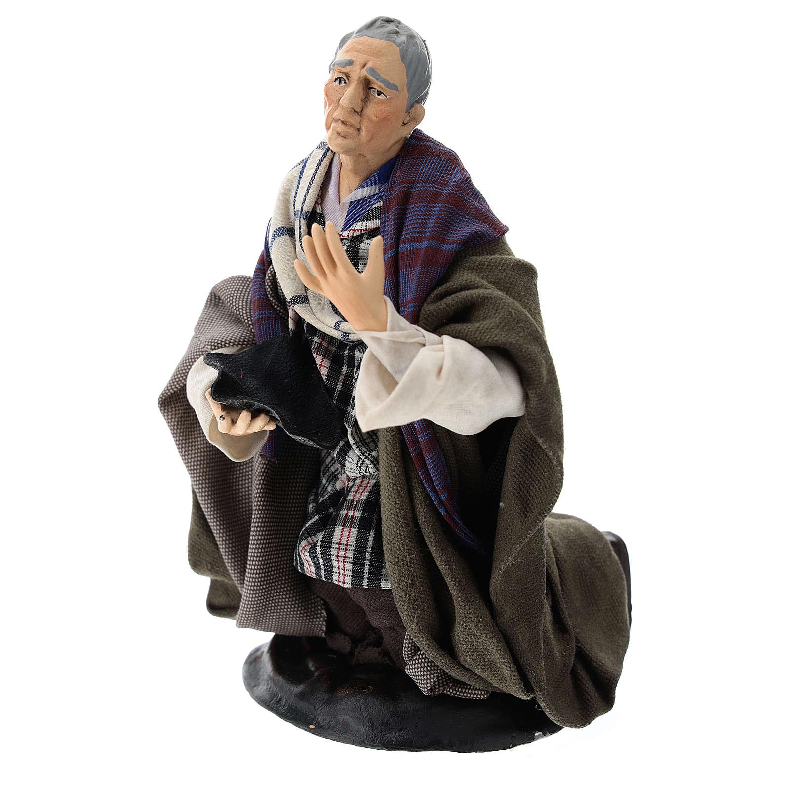 Neapolitan Nativity figurine, kneeling beggar, 18 cm 4