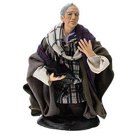 Neapolitan Nativity figurine, kneeling beggar, 18 cm s1