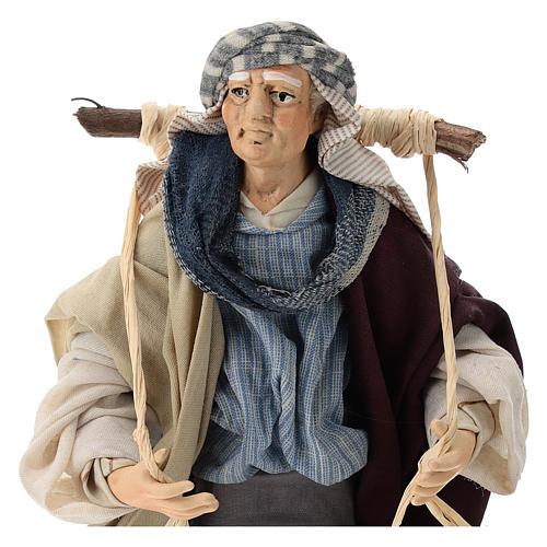 Neapolitan Nativity figurine, man carrying water, 18 cm 2