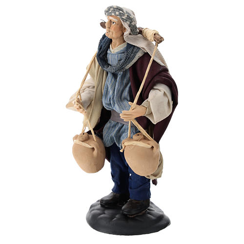 Neapolitan Nativity figurine, man carrying water, 18 cm 3