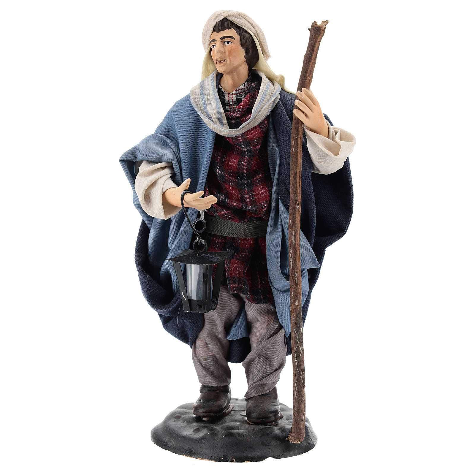 Neapolitan Nativity figurine, man with lantern, 18 cm 4