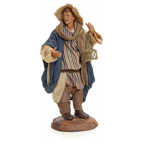 Neapolitan Nativity figurine, man with lantern, 18 cm 1
