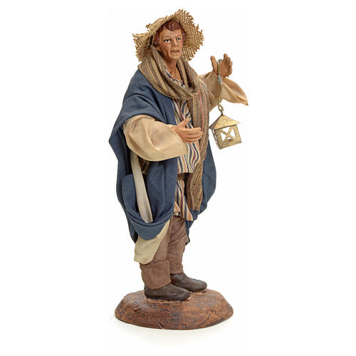 Neapolitan Nativity figurine, man with lantern, 18 cm 2