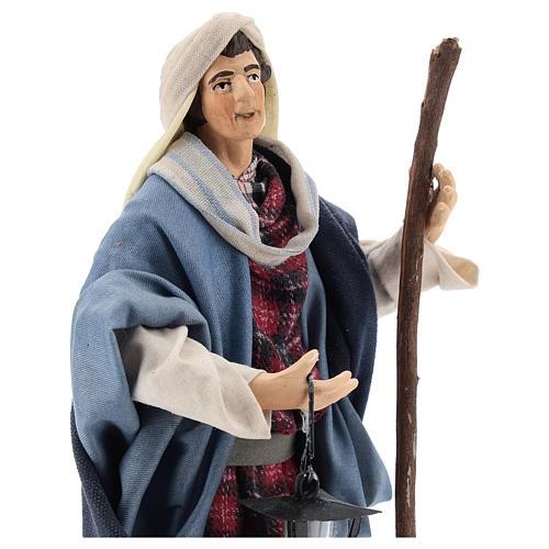 Neapolitan Nativity figurine, man with lantern, 18 cm 2