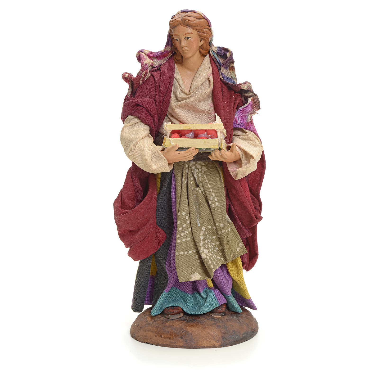 Neapolitan Nativity figurine, woman with apples, 18 cm 4