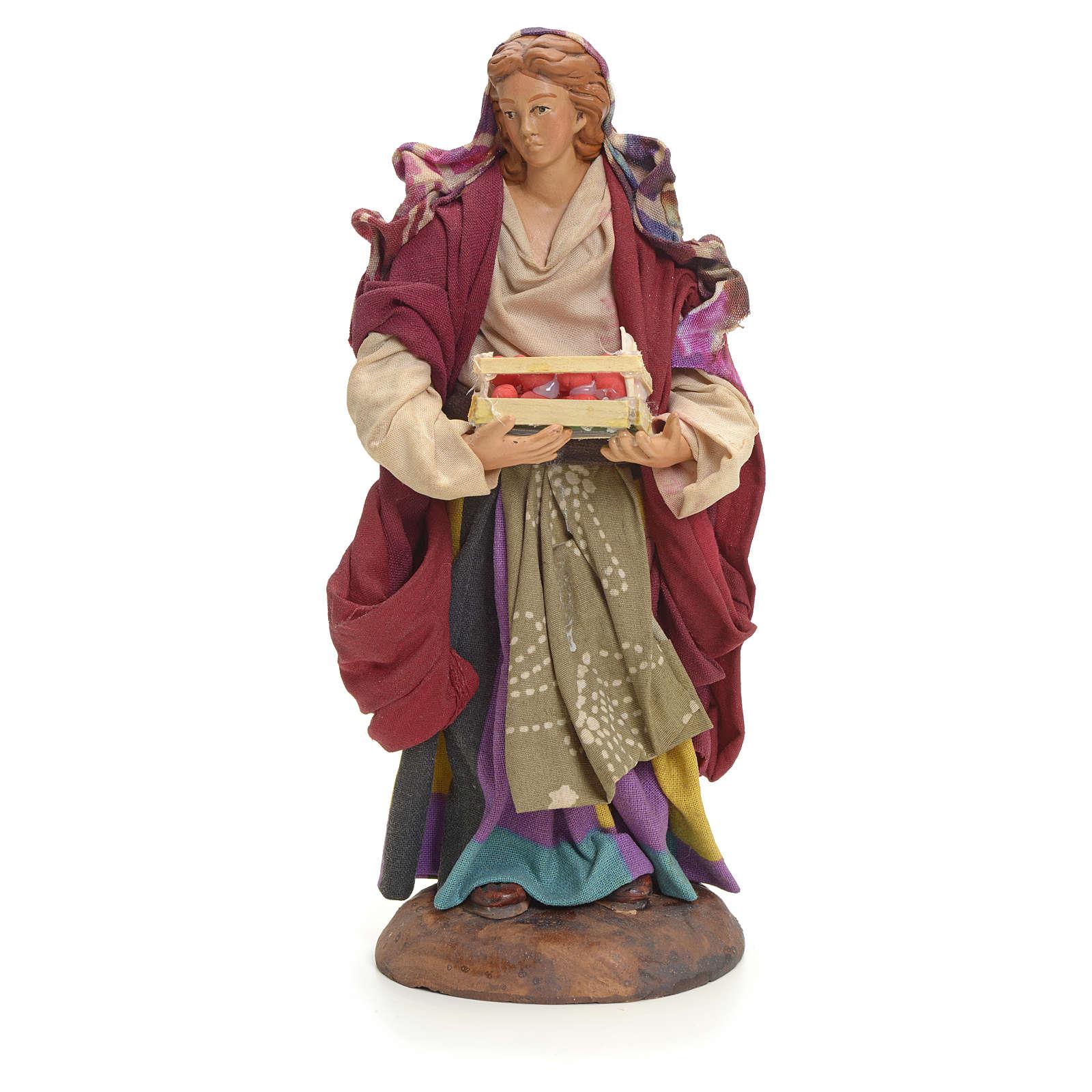 Neapolitan Nativity figurine, woman with apples, 18 cm 4