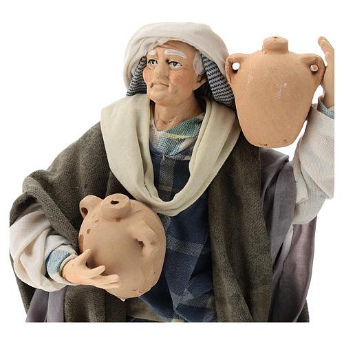 Neapolitan Nativity figurine, man with amphora, 18 cm 2