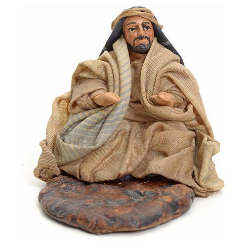 Neapolitan nativity figurine, Arabian man warming up, 8cm 1