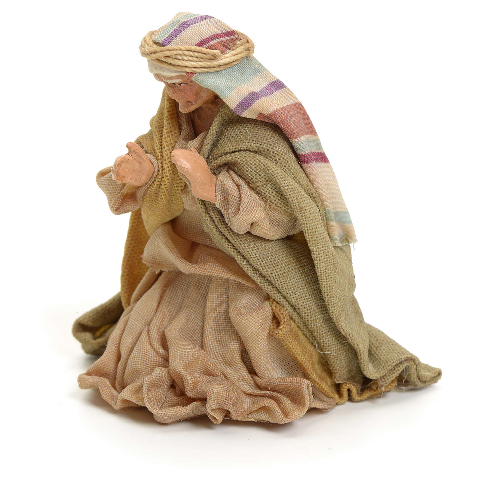 Neapolitan Nativity figurine, kneeling woman praying, 8 cm 4