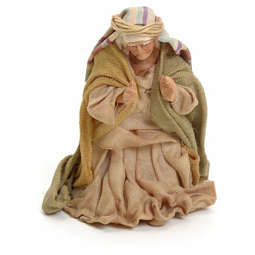 Neapolitan Nativity figurine, kneeling woman praying, 8 cm 1