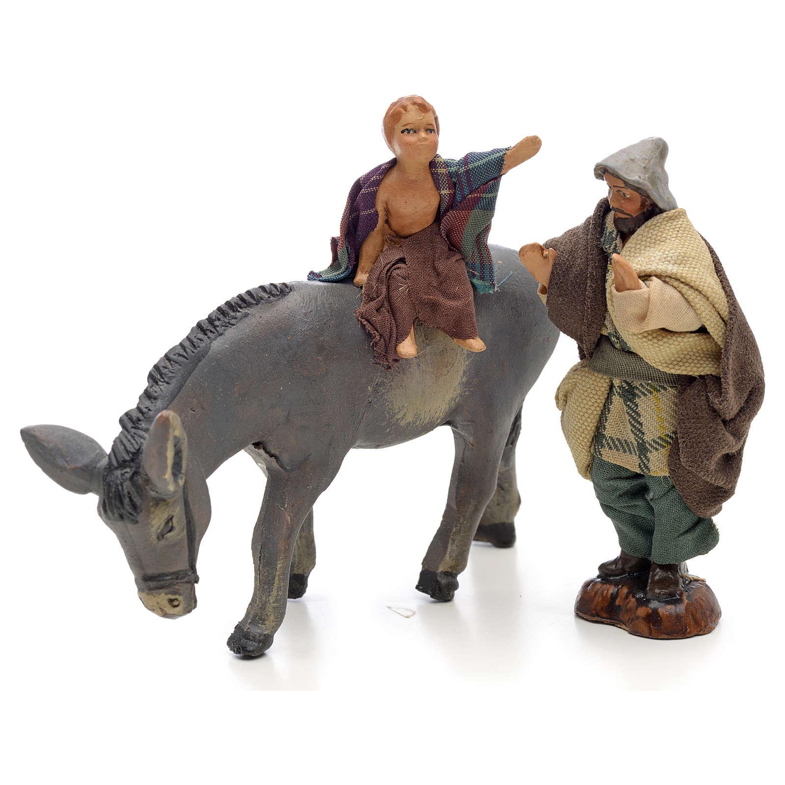 Enfant sur âne 8 cm crèche Napolitaine 4