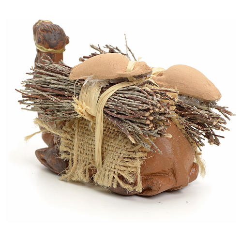 Neapolitan Nativity figurine, kneeling camel with wood bundle, 8 3