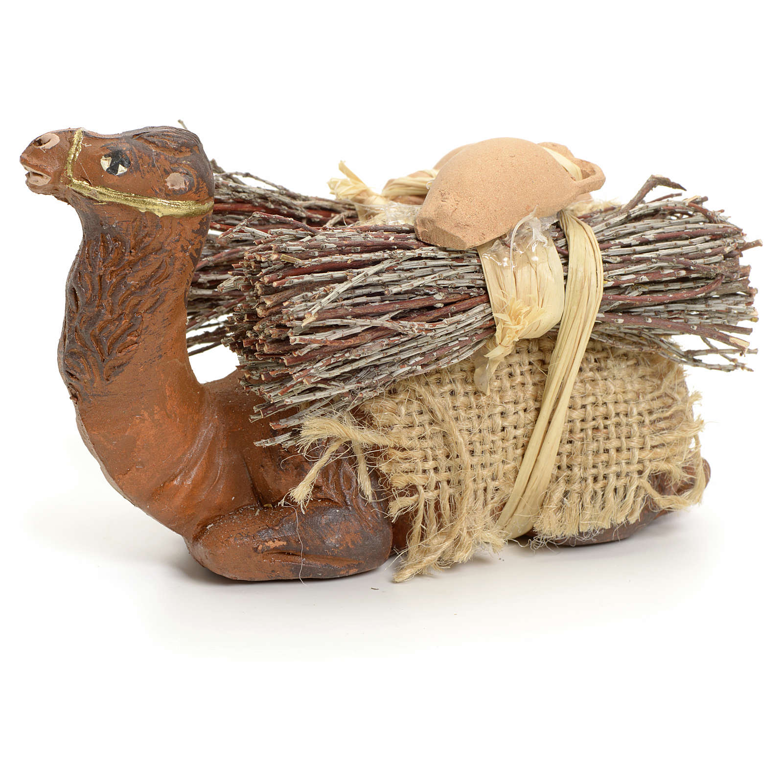 Neapolitan Nativity figurine, kneeling camel with wood bundle, 8 4