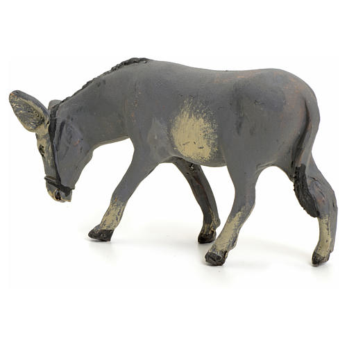 Neapolitan nativity figurine, standing donkey, 8cm 3