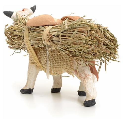 Neapolitan Nativity figurine, cow with straw bundle, 8 cm 3
