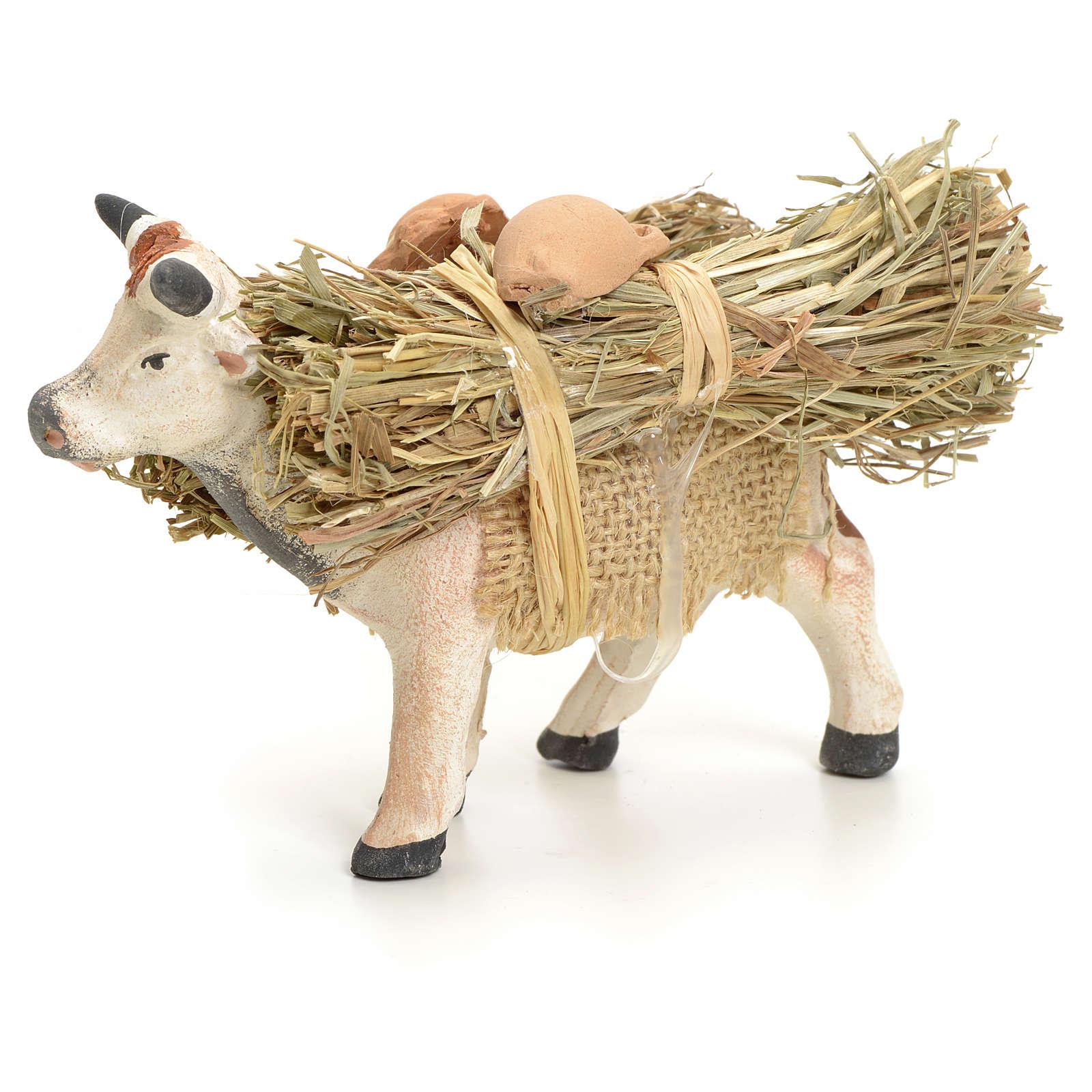 Mucca in piedi con legna cm 8 presepe napoletano 4