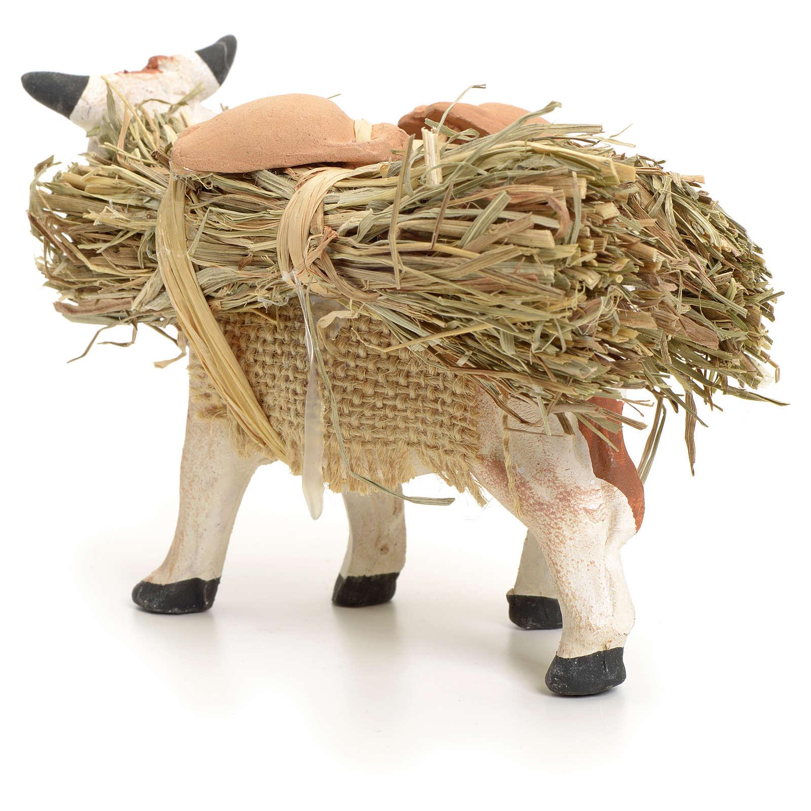 Neapolitan Nativity figurine, cow with straw bundle, 8 cm 4