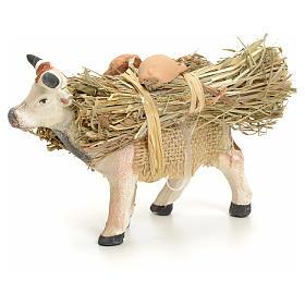 Neapolitan Nativity figurine, cow with straw bundle, 8 cm s1