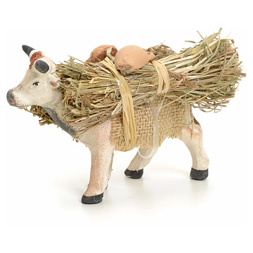 Neapolitan Nativity figurine, cow with straw bundle, 8 cm 1