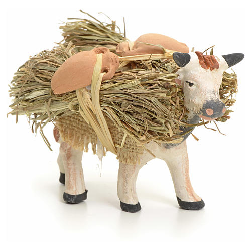 Neapolitan Nativity figurine, cow with straw bundle, 8 cm 2