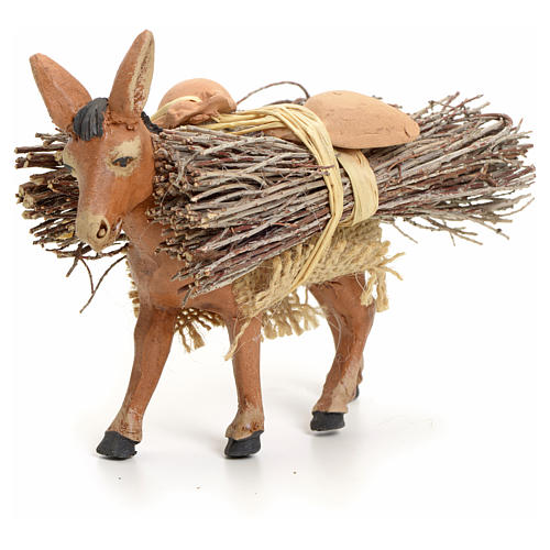 Brown donkey standing with wood, Neapolitan nativity 8cm 1