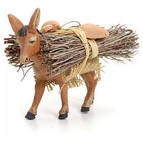 Presepe Napoletano: Asino marrone in piedi con legna cm 8 presepe napoletano