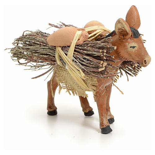 Brown donkey standing with wood, Neapolitan nativity 8cm 2