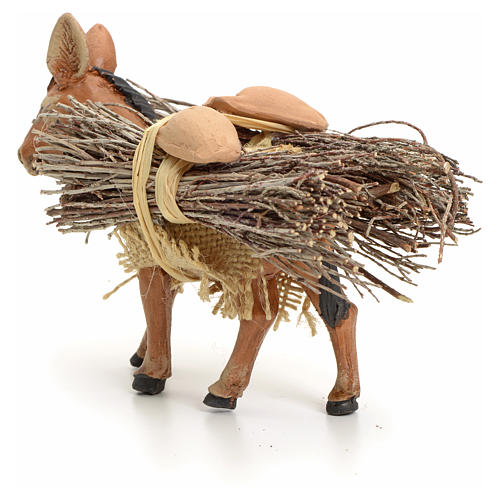Brown donkey standing with wood, Neapolitan nativity 8cm 3