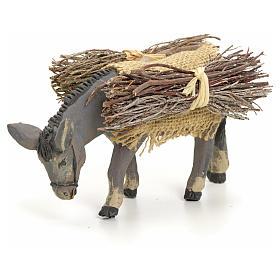 Neapolitan Nativity Scene: Neapolitan nativity figurine, standing donkey with wood, 8cm