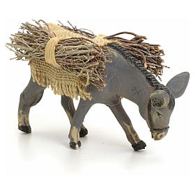 Neapolitan nativity figurine, standing donkey with wood, 8cm s2
