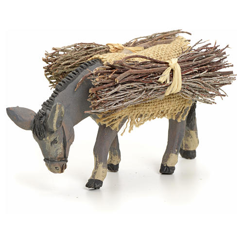 Neapolitan nativity figurine, standing donkey with wood, 8cm 1
