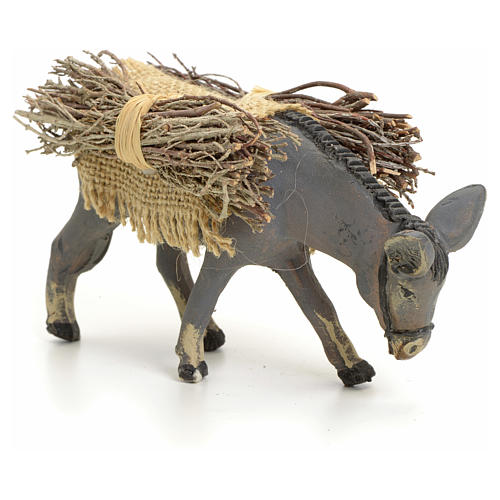 Neapolitan nativity figurine, standing donkey with wood, 8cm 2
