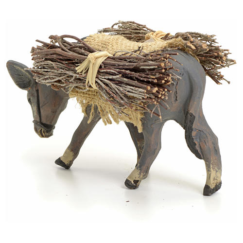 Neapolitan nativity figurine, standing donkey with wood, 8cm 3