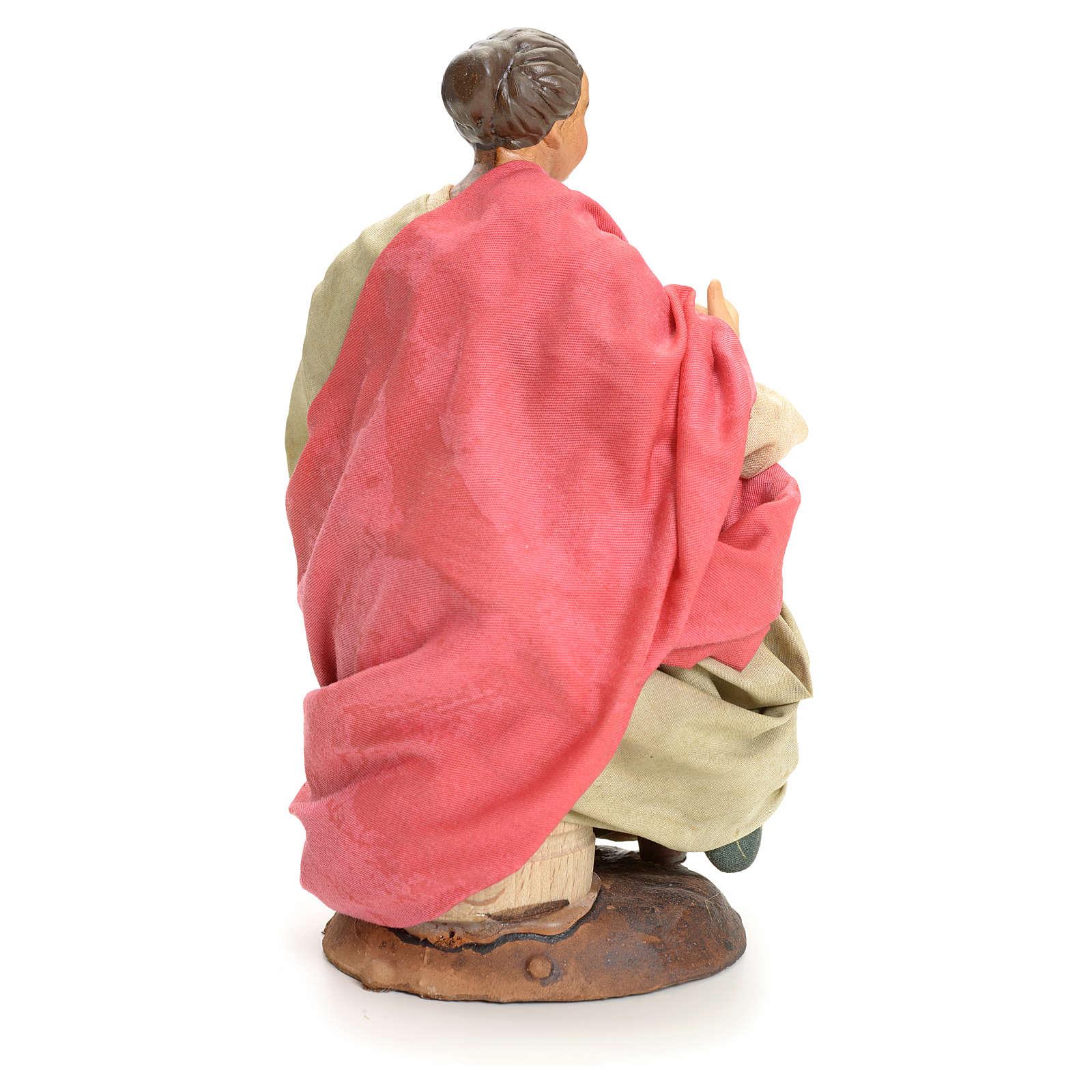 Donna seduta 18 cm presepe Napoletano 4