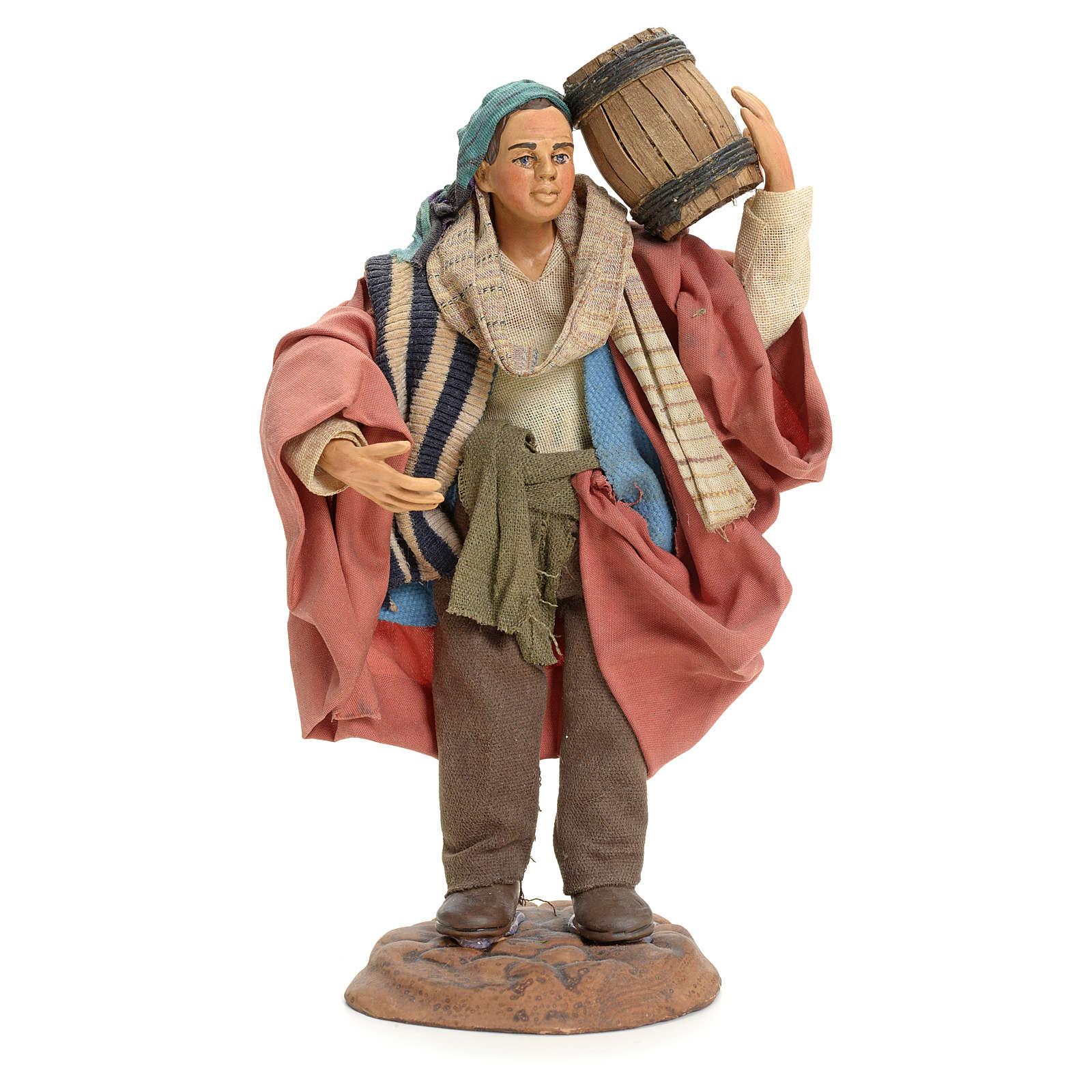 Neapolitan Nativity figurine, man carrying cask, 18 cm 4