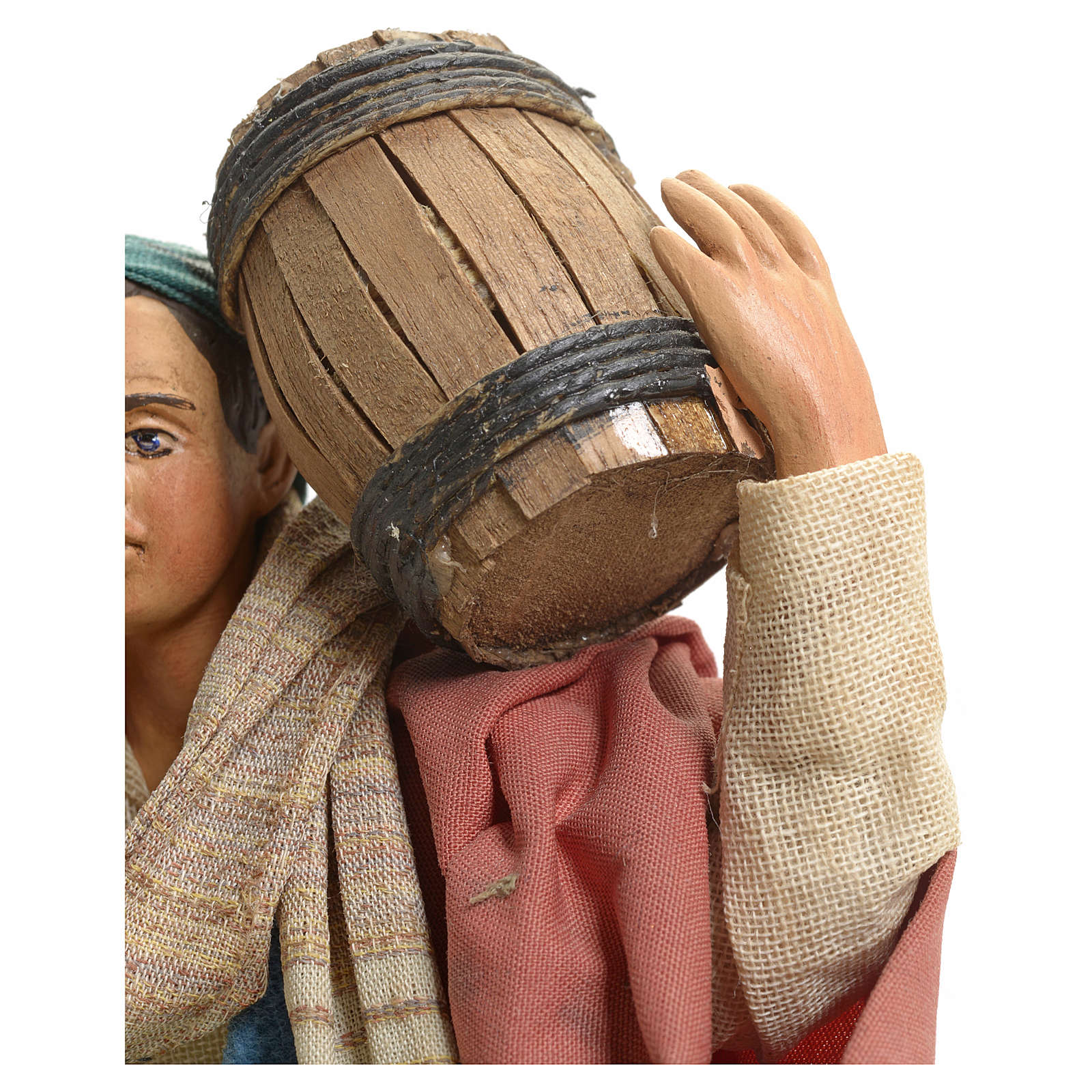Neapolitan Nativity figurine, man carrying cask, 18 cm 4
