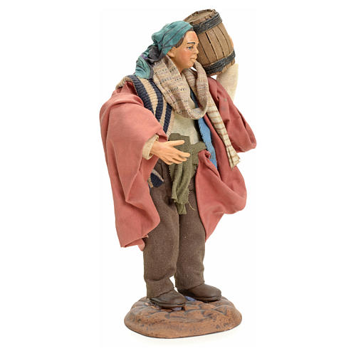 Neapolitan Nativity figurine, man carrying cask, 18 cm 2