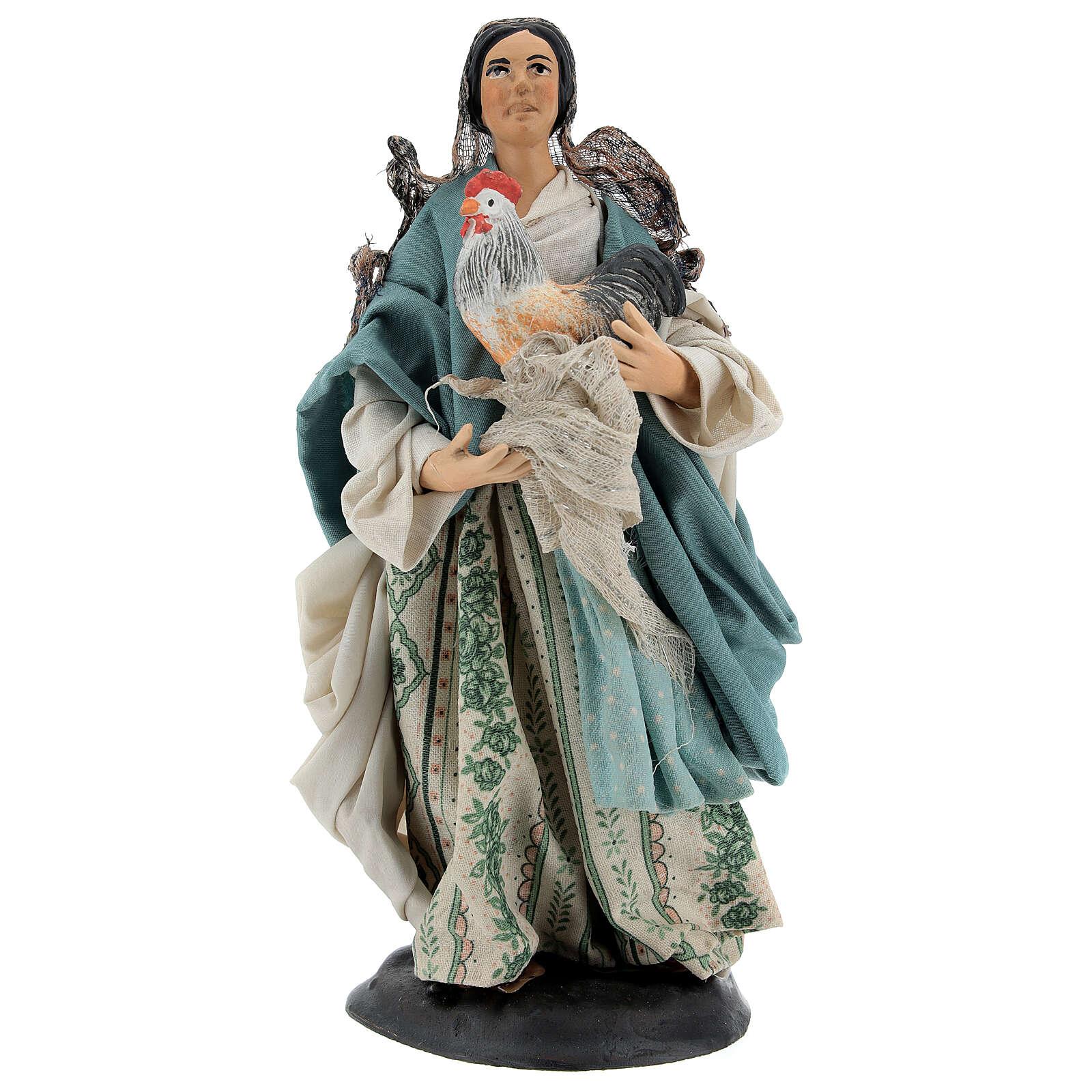 Neapolitan Nativity figurine, woman with hen, 18 cm 4