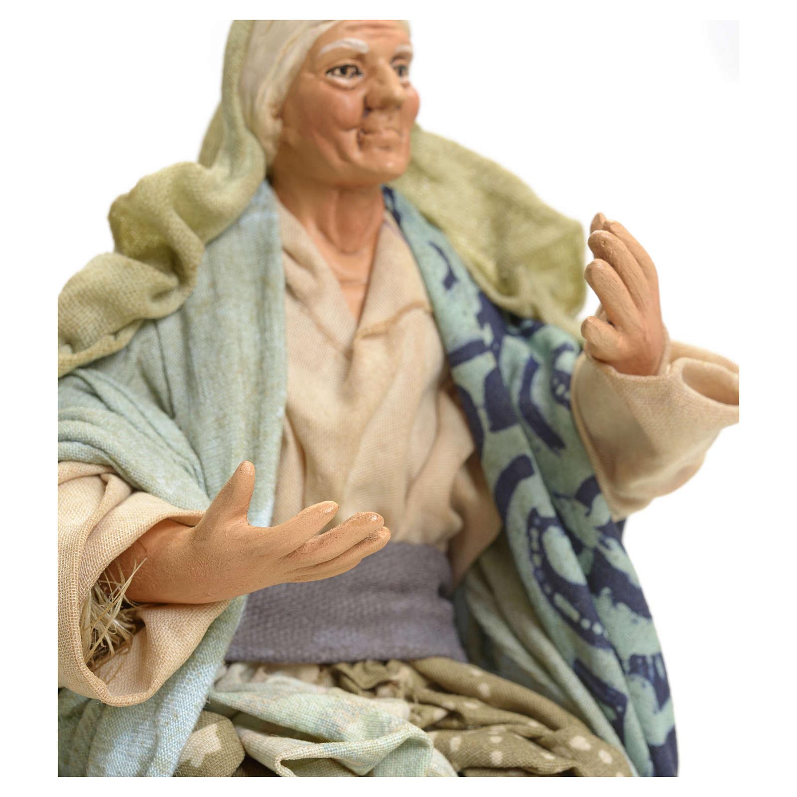 Anziana seduta 18 cm Presepe napoletano 4