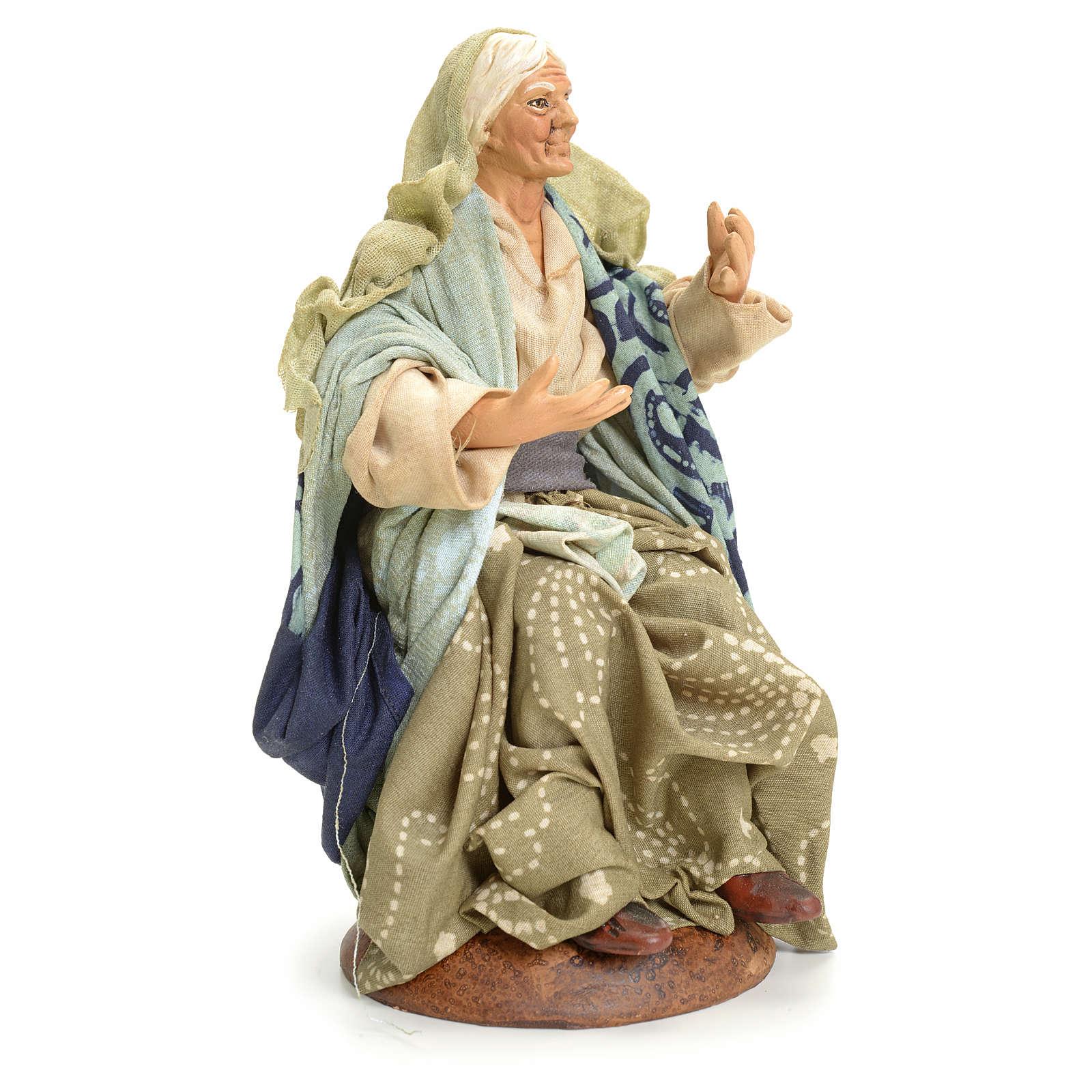 Neapolitan Nativity figurine, old lady sitting, 18 cm 4