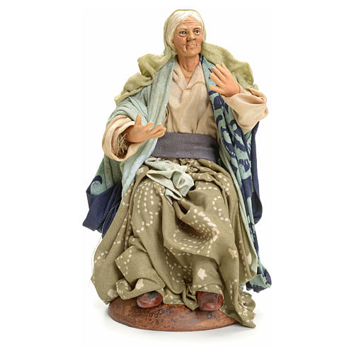 Neapolitan Nativity figurine, old lady sitting, 18 cm 1