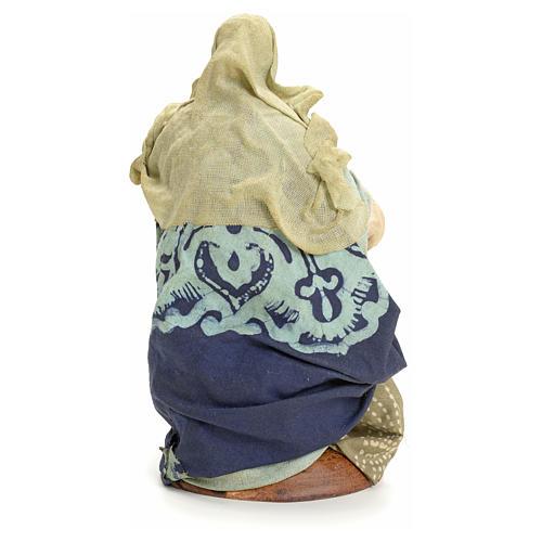 Neapolitan Nativity figurine, old lady sitting, 18 cm 3