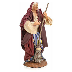 Neapolitan Nativity figurine, woman with broom, 18 cm s2