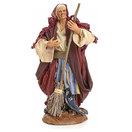 Neapolitan Nativity figurine, woman with broom, 18 cm 1