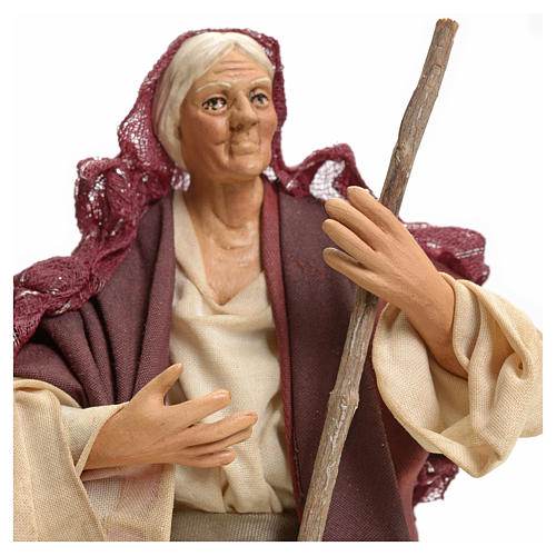 Neapolitan Nativity figurine, woman with broom, 18 cm 4