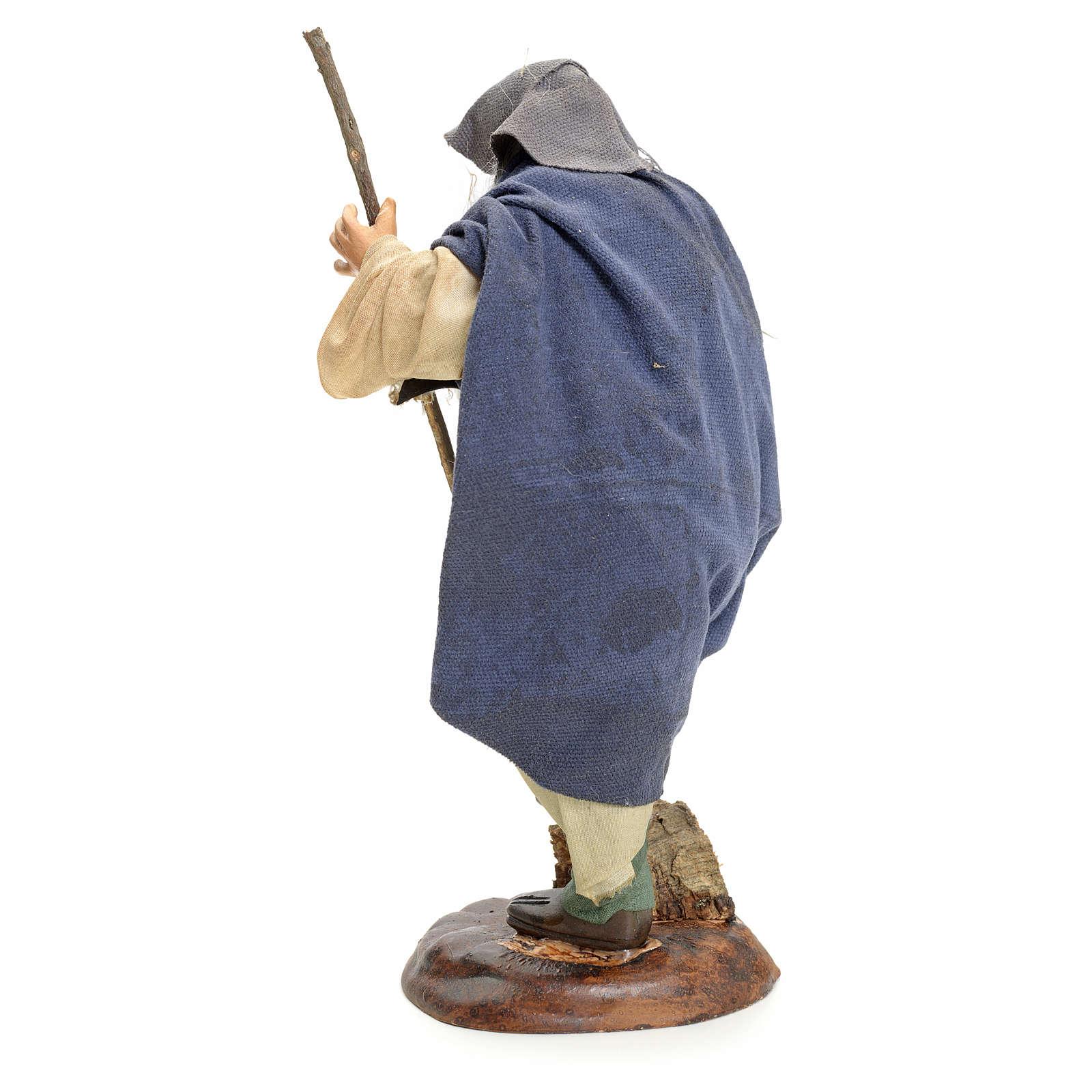 Uomo con bastone 18 cm presepe napoletano 4